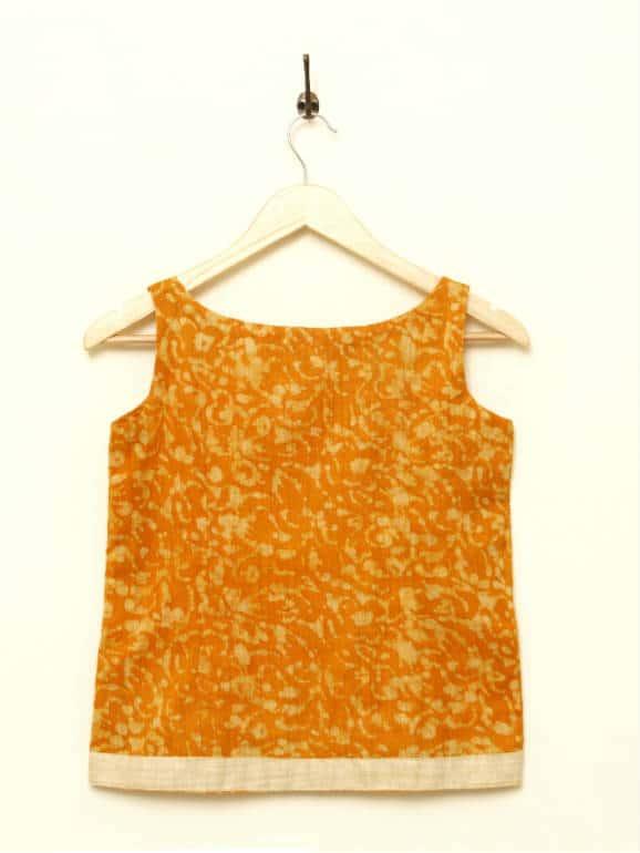 Batik printed sleeveless jute-cotton tunic, with a thin, solid jute-cotton border