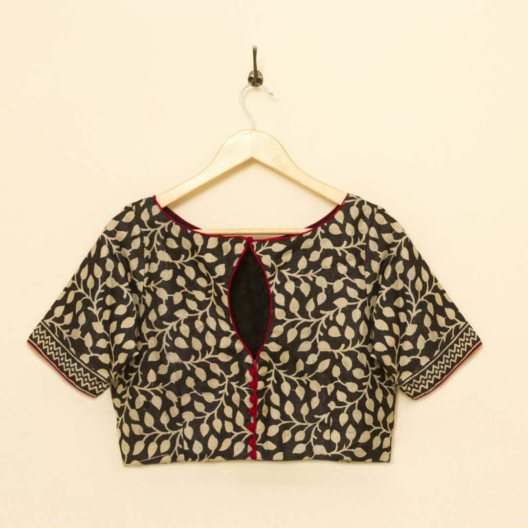 Tussar Silk Blouse with contrast piping along hems and patly placket and keyhole neckline at back