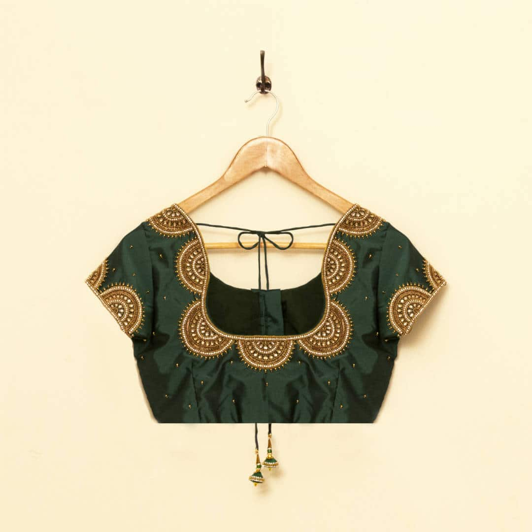 Hand embroidered pure silk blouse with stone and bead work, tailored for a wedding reception