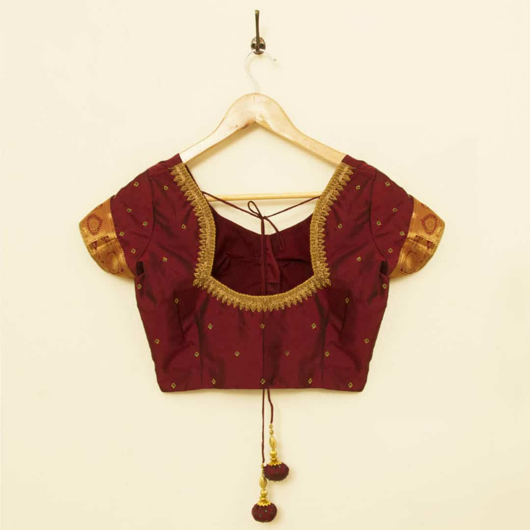 Zardozi embroidered pure silk blouse with stone detailing, tailored for a wedding muhurtham