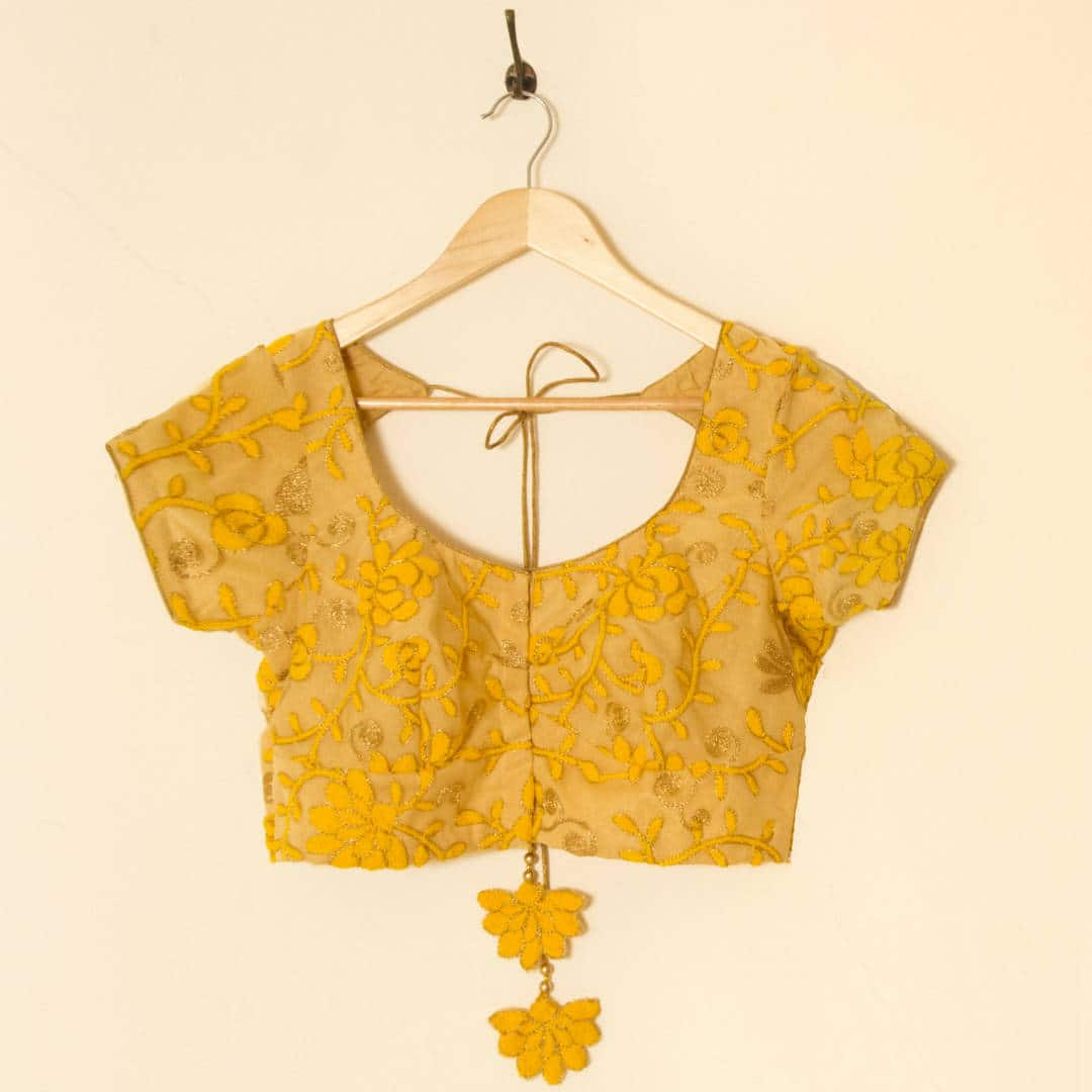 Thread embroidered georgette blouse, tailor made for an Annual General Meet