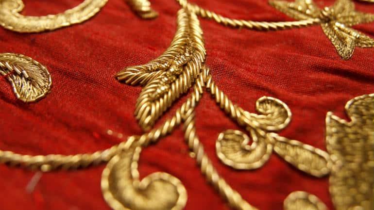 Zardozi embroidery on raw silk