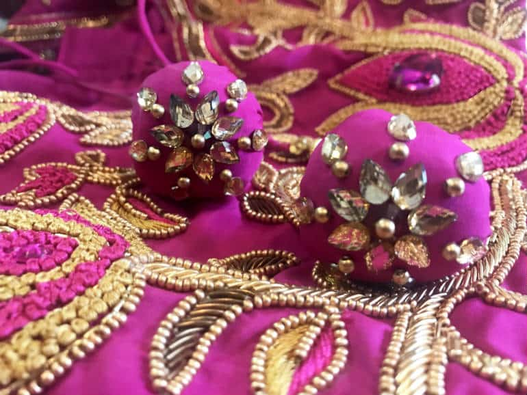 A fusion of zardozi, stone and bead work on pure silk