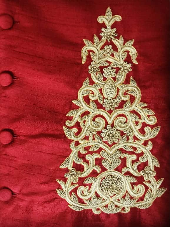 Embossed thread work on raw silk
