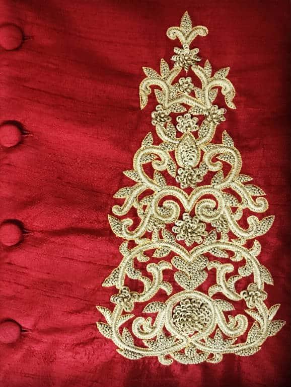 Embossed thread work on raw silk