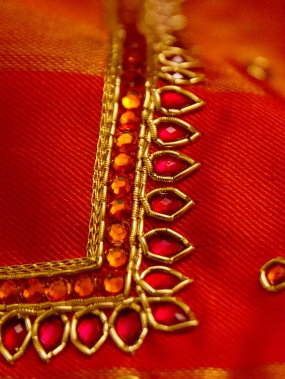 Zardozi and stone work embroidery on silk