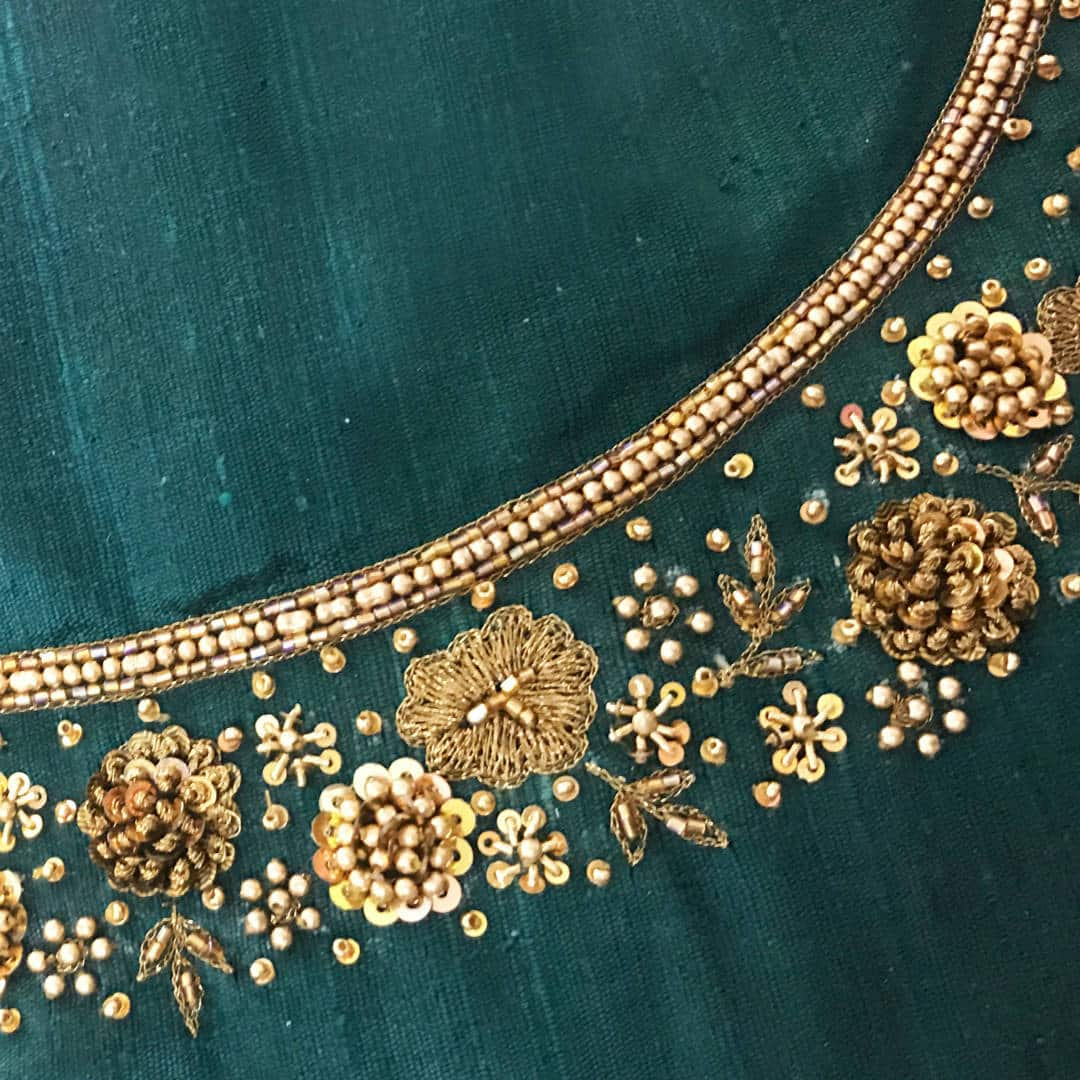 Sequin and bead work embroidery on raw silk