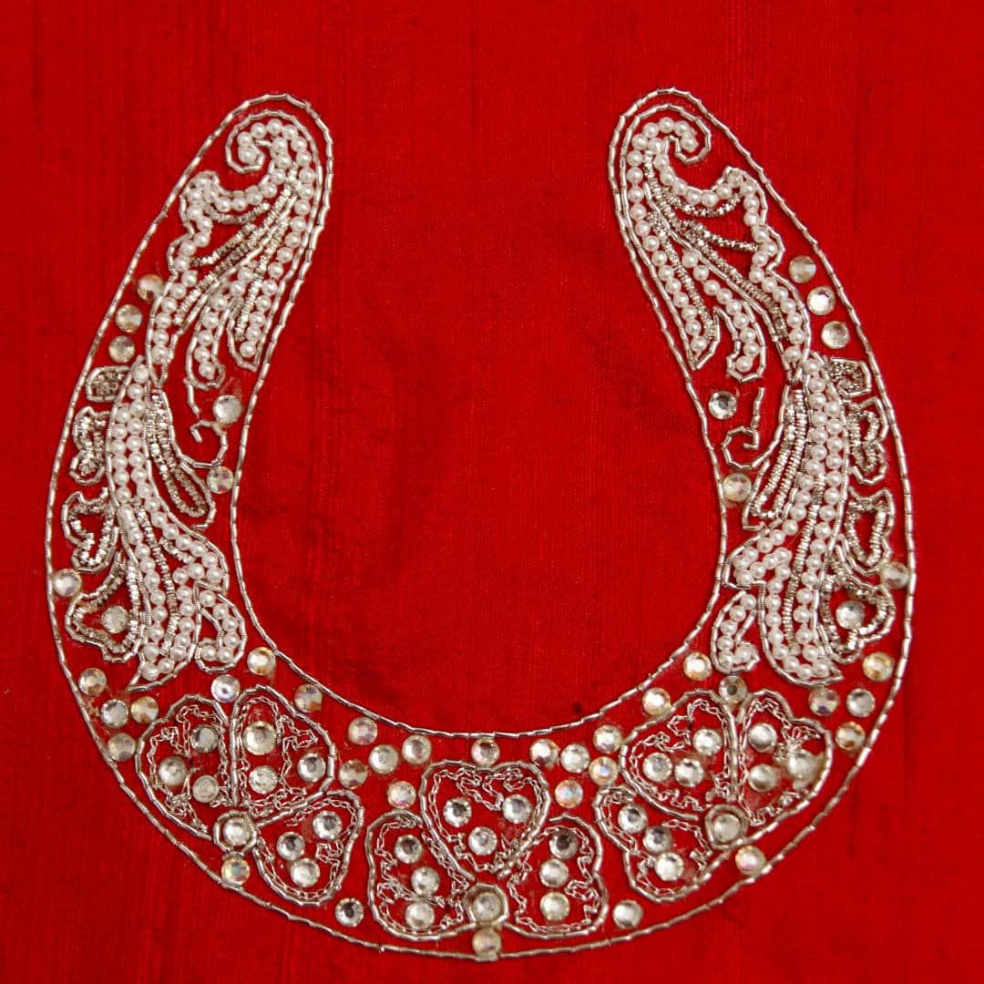 Zardozi, pearl and stone embroidery on raw silk