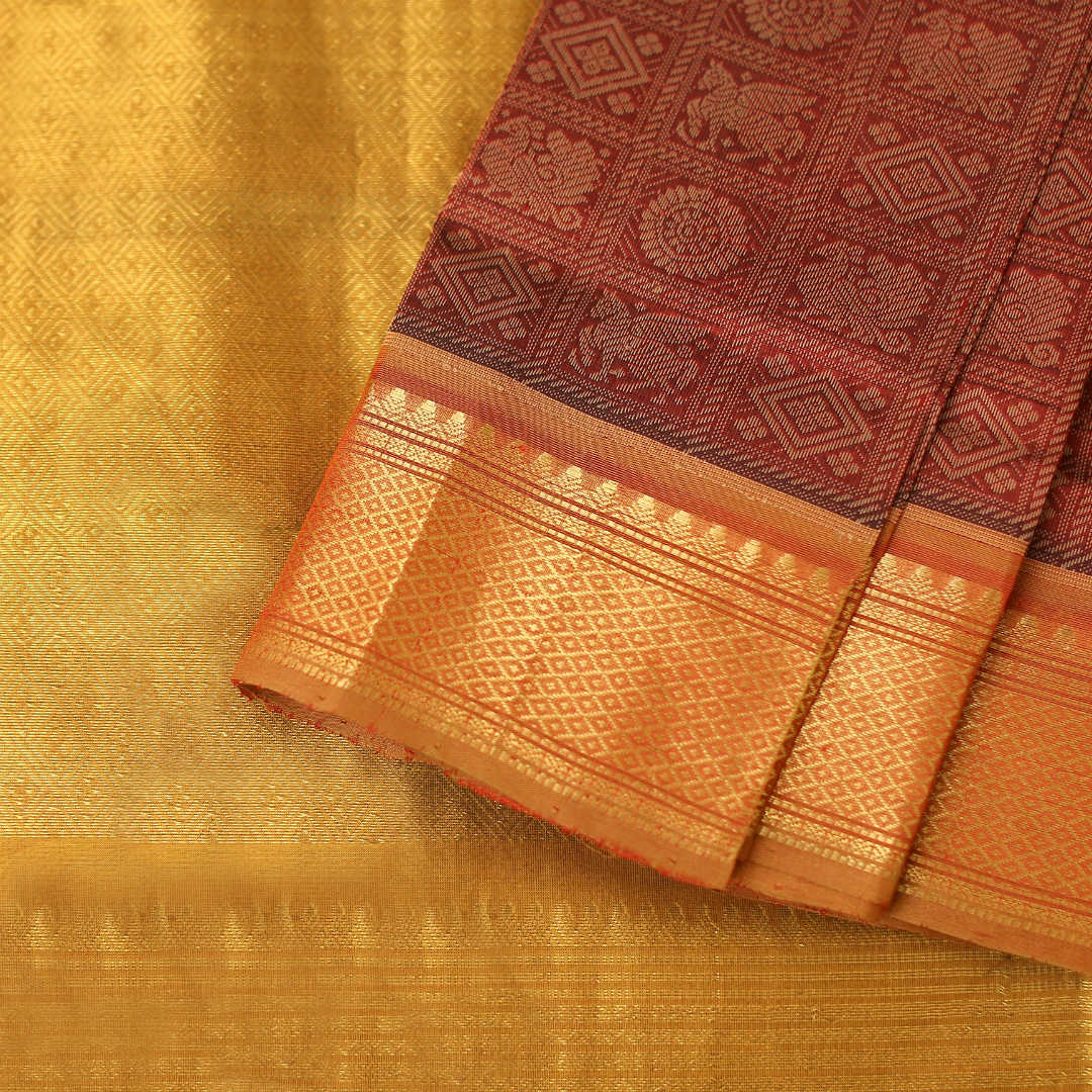 Handwoven silk-cotton saree with zari and thread work