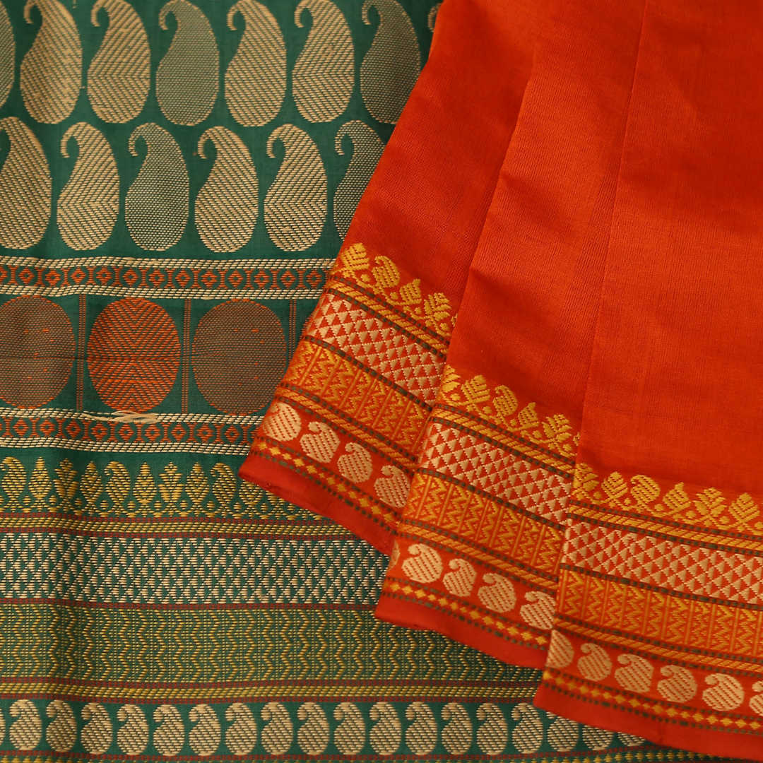 Handwoven silk-cotton saree with thread work