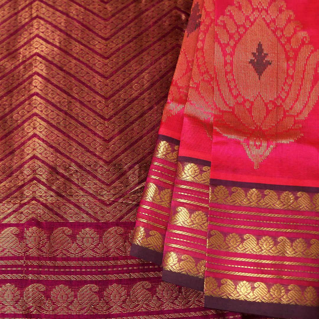 Handwoven silk-cotton saree with zari