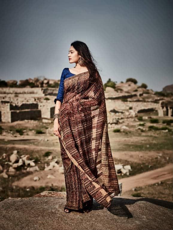 Handwoven Kalamkari Ahimsa Silk (Eri Silk) Saree