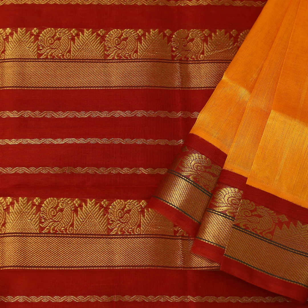 Handwoven silk-cotton saree with zari