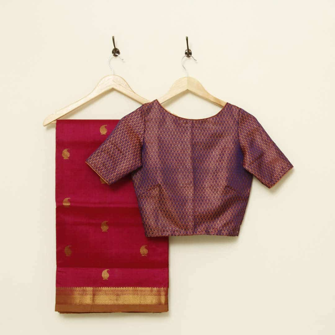 Handwoven silk-cotton saree with zari, best paired with a brocade blouse