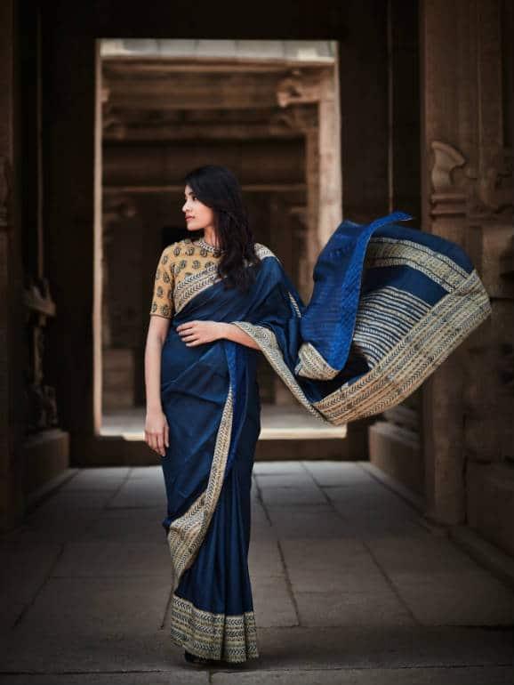 Muga Silk with Cotton Kalamkari Appliqué