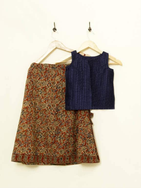 A raw silk corded top, paired with a flared kalamkari skirt