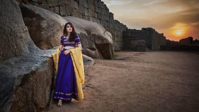 Pavadai-dhavani set, converted from a 18 year old Kanjeevaram silk saree