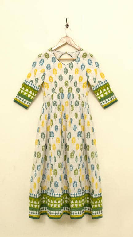 This pretty printed cotton anarkali was converted from a curtain that once hung in the living room
