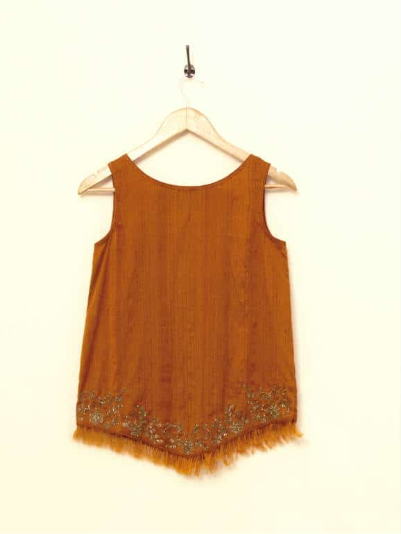 Handwoven banana-silk top, with antique zardozi embroidery