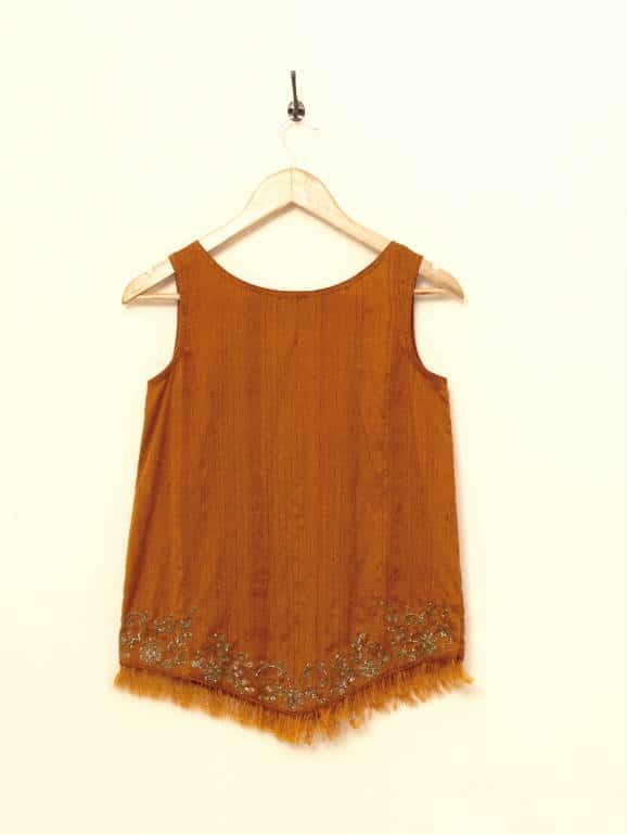 Handwoven banana-silk top, with antique zardozi embroidery