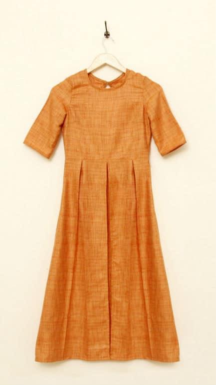 Jute-silk-cotton tunic with a high waist seam